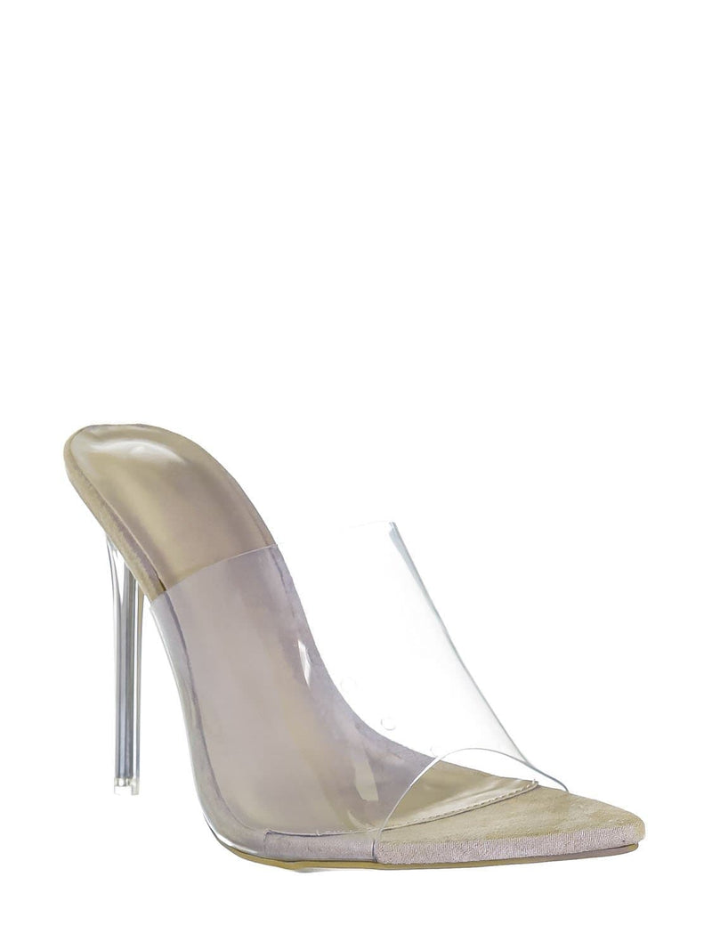 Natural Patent / Carmy51 Lucite Mule Stiletto Sandals - Womens Transparent Open Pointed Toe Heels