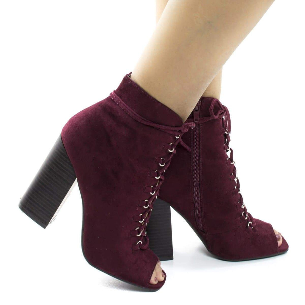 Darlyn07 Burgundy By Wild Diva, Peep Toe Corset Lace Up Stacked Chunky Heel Ankle Booties