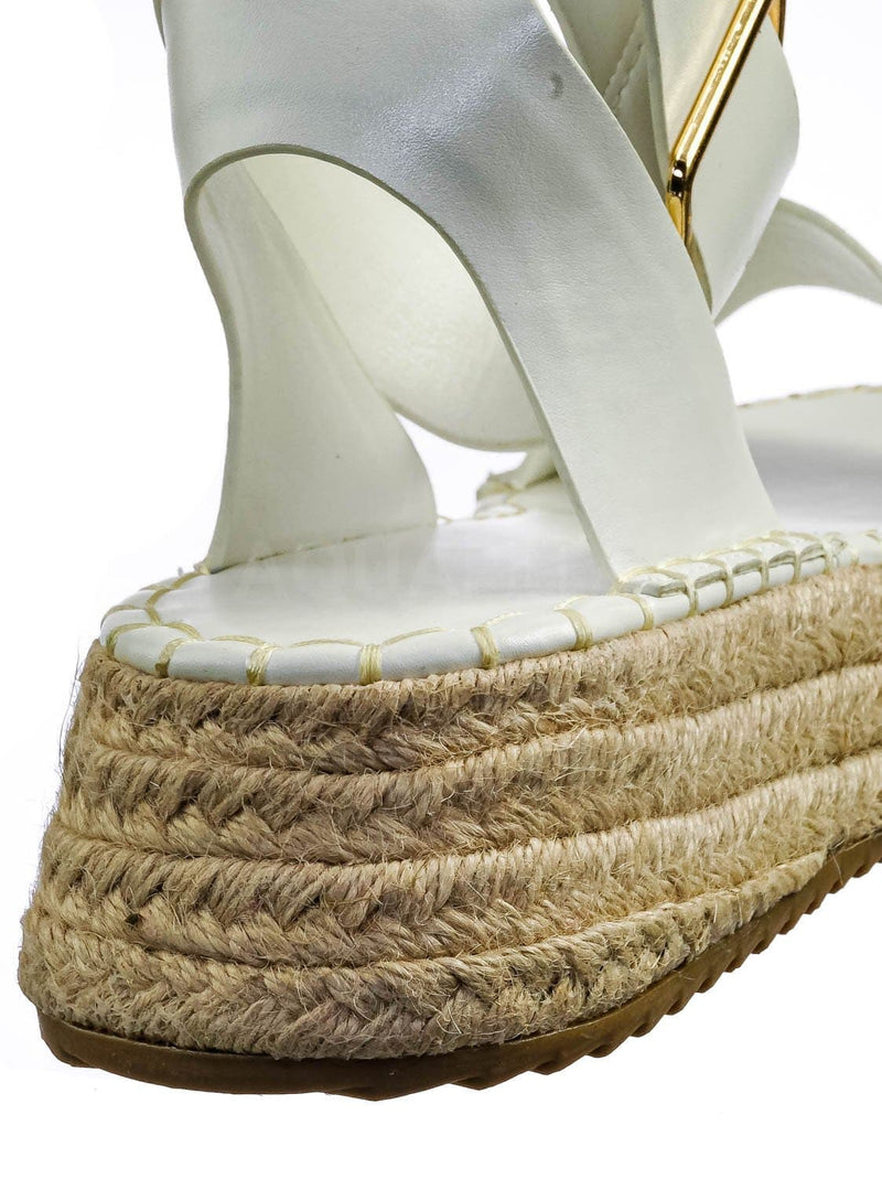 White Pu  / Emera01 Tapered Espadrille Flatform Sandal - Womens Ankle Strap Open Toe Shoes