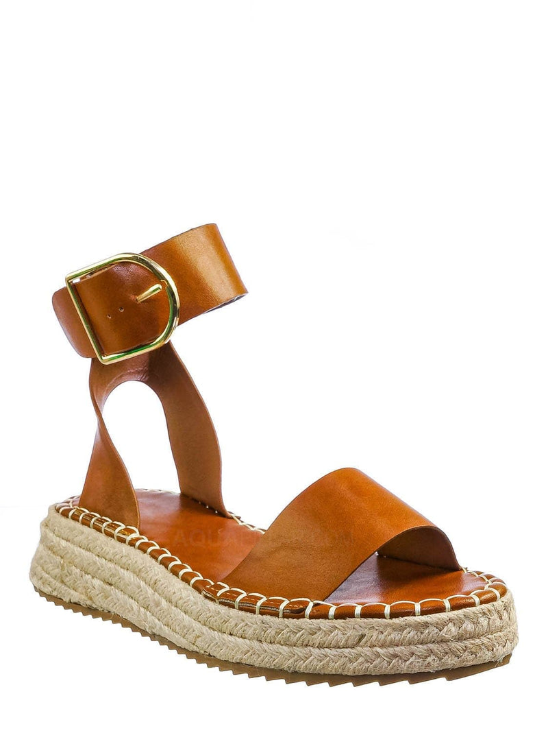 Whisky Brown / Emera01 Tapered Espadrille Flatform Sandal - Womens Ankle Strap Open Toe Shoes