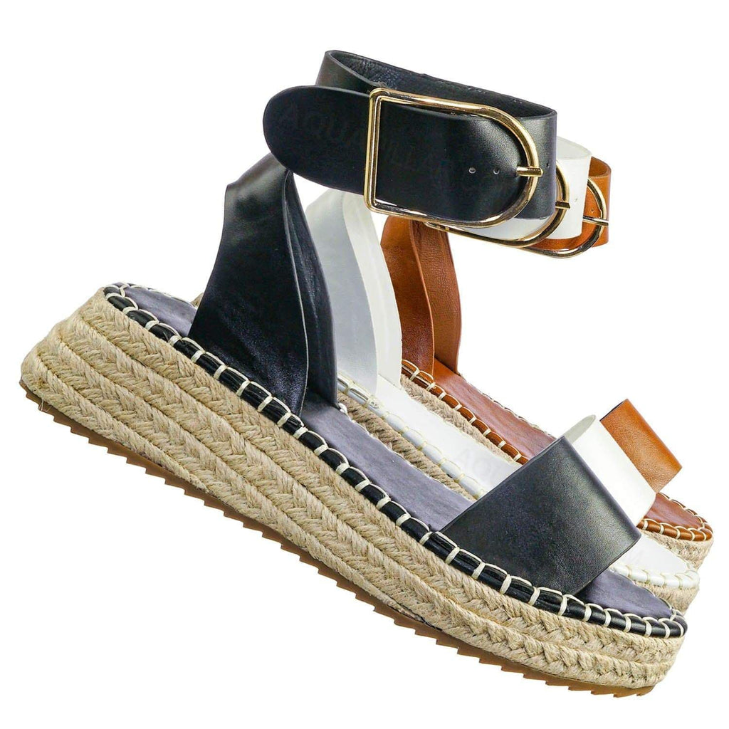 Emera01 Tapered Espadrille Flatform Sandal - Womens Ankle Strap Open Toe Shoes