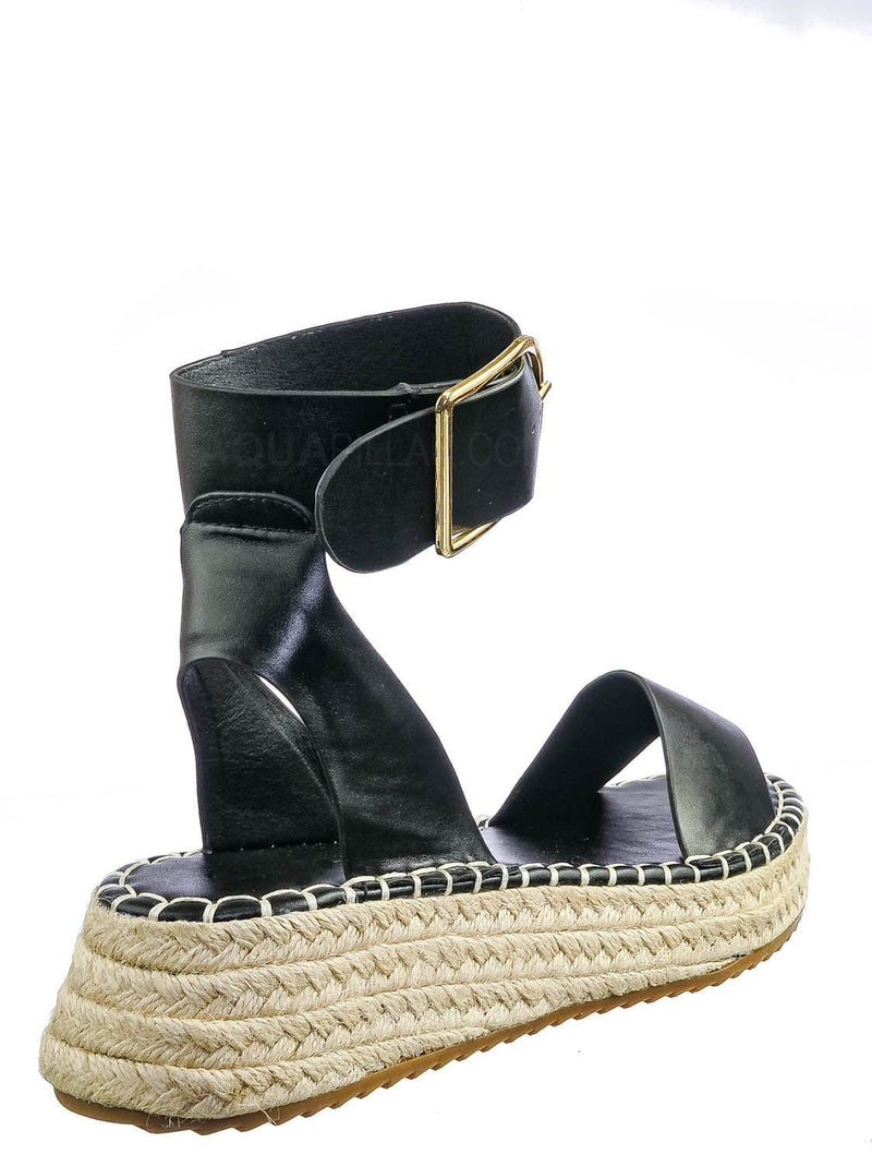 Black Pu / Emera01 Tapered Espadrille Flatform Sandal - Womens Ankle Strap Open Toe Shoes