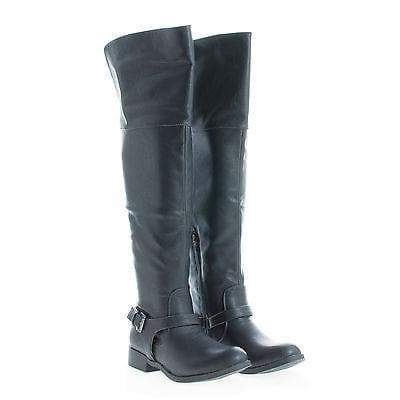 Ethan01 Black Pu By Wild Diva, Round Toe Over Knee Ankle Harness Riding Boots
