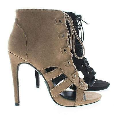 Evelyn30 Black By Wild Diva, Corset Lace Up Cut Out Open Toe Stiletto Heel Ankle Sandal