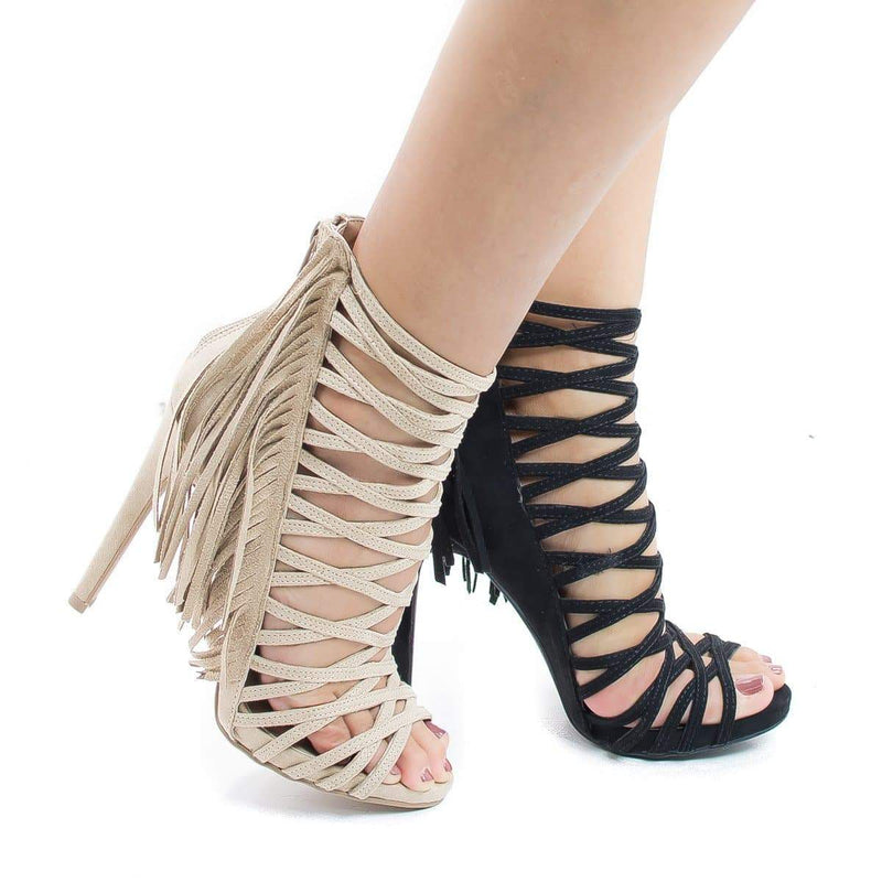 Evelyn69 Natural By Wild Diva, Caged Fringe Zip Up Stiletto High Heel Sandals