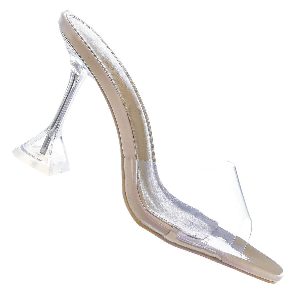 Clear Beige / Flirt01 Lucite Mule Heel Sandals - Womens Transparent Backless Open Toe Shoes
