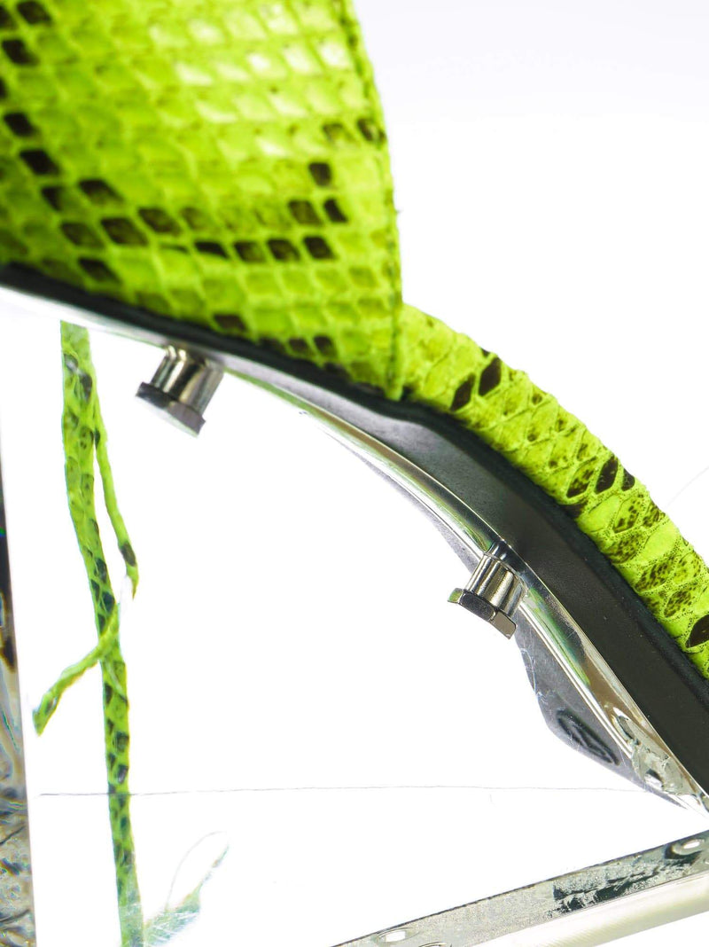 Green Snake / Francy12 Green Snake Lucite Leg Wrap Wedge High Heels - Womens Wrap Around Transparant Shoes