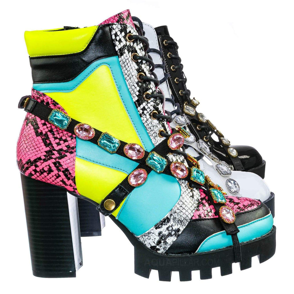 Yellow Multi / Glenna12 Punk Rock Chunky Ankle Booties - Jewel Color Military Combat Block Boot