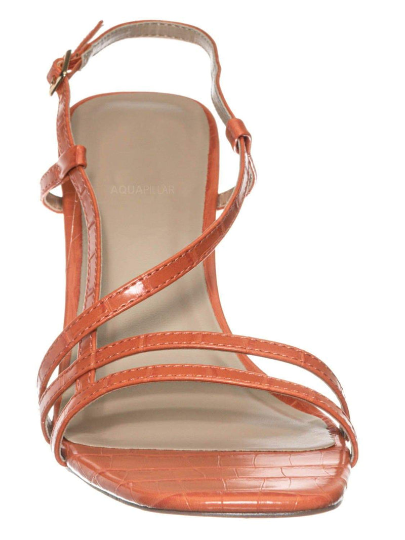 Salmon Orange / Kaiya1 Barely There Flat Block Heel Sandal - Open Squared Toe Animal Croc Print
