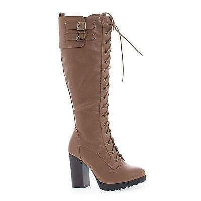 Kimber11 Taupe Pu By Wild Diva, Knee High Corset Lace Up High Heel Lug Sole Moto Boots
