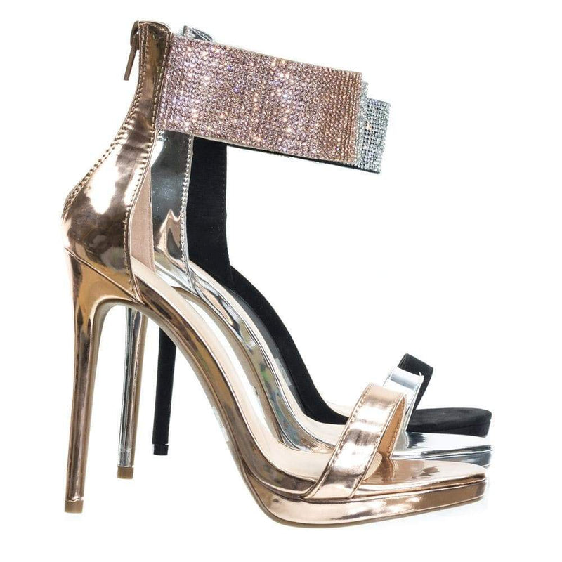 Lora23 by Wild Diva High Heel Rhinestone Encrusted Ankle Strap, Women's Party Sandal
