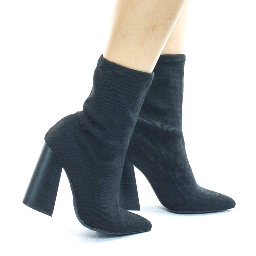 Lust01 Fabric Pull On Knitt Sock Ankle Bootie w Stack Chunky Block Heel