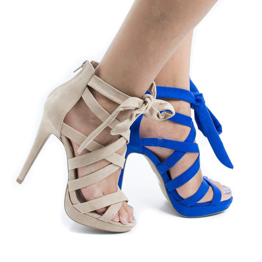 Madden13 By Wild Diva, Multi Strappy Ankle Wrap Platform Stiletto Heel Sandals