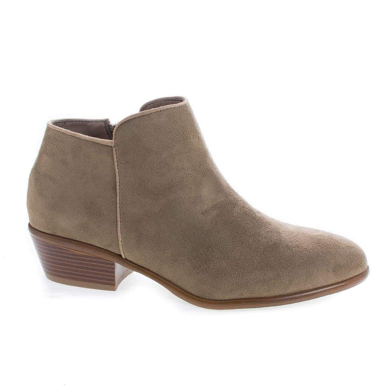 Manny01 Taupe By Wild Diva, Almond Toe Ankle Zip Up Stacked Heel Boots