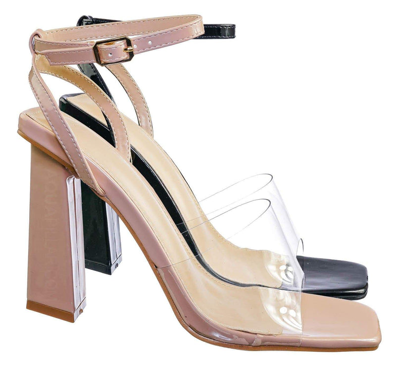 Maze01 Lucite Transparent Open Square Toe Sandal - Clear Chucky Triangle Heel