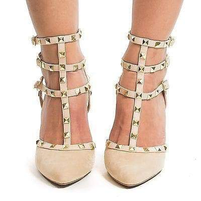 Miranda05 By Wild Diva, Two-Toned T-Strap Triple Ankle Buckle Strap w Pyramid Metal Studs