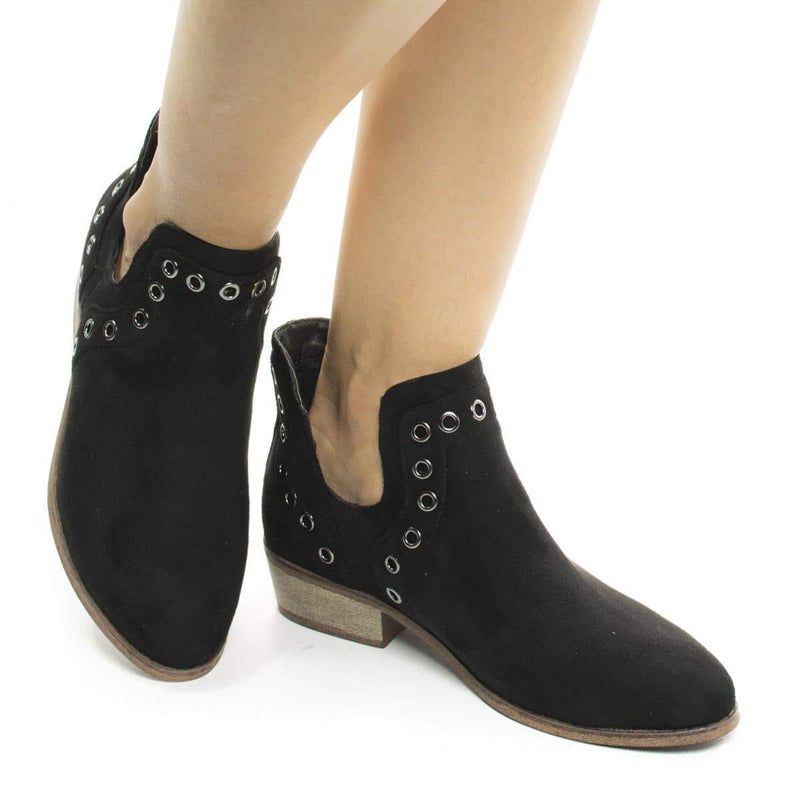 Mojave03 Natural By Wild Diva, Women's Western Pull On Ankle Booties w Side Slit & Metal Detail