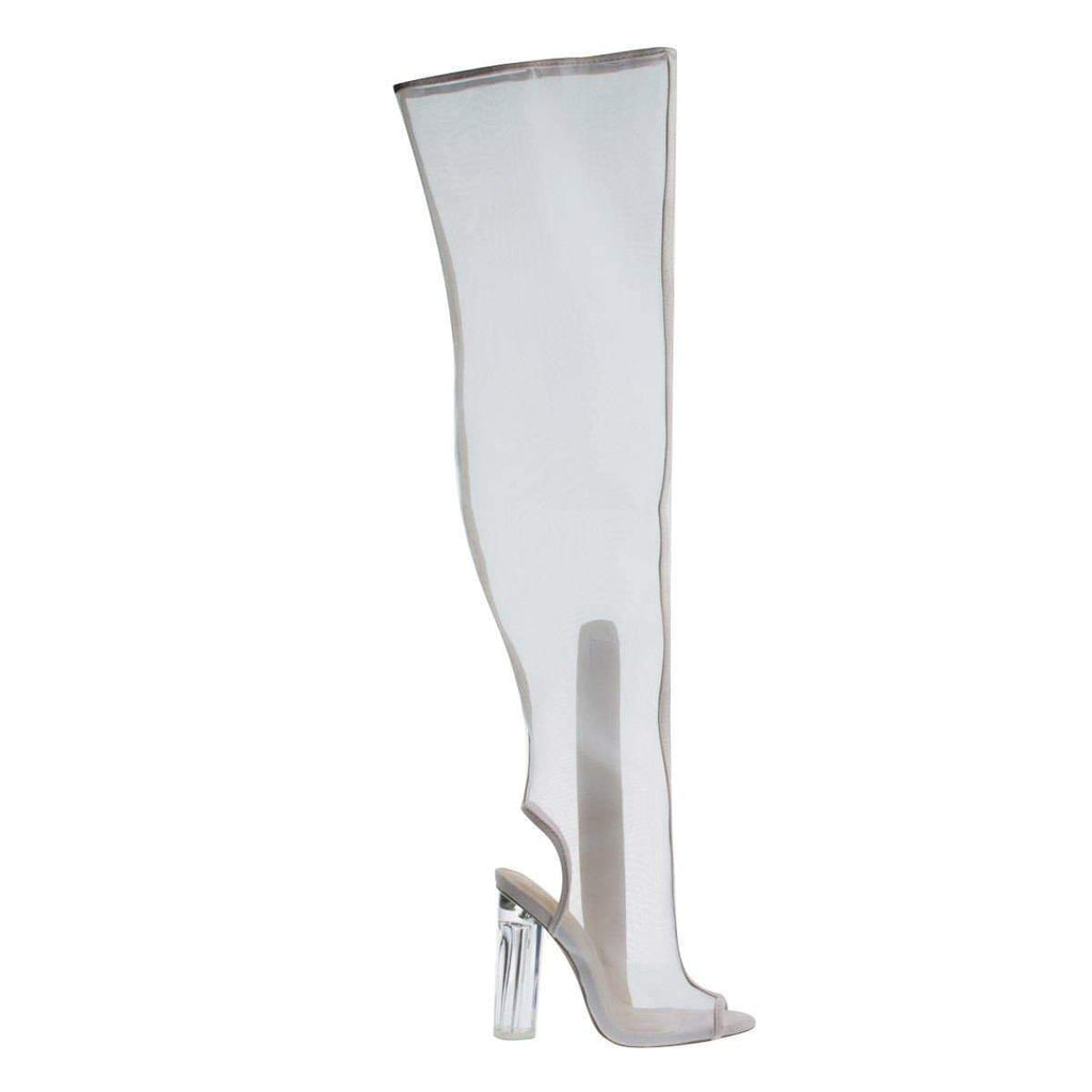Mono12 By Wild Diva, Over Knee See Through Mesh Boots w Lucite Perspex Block Heel, Peep Toe