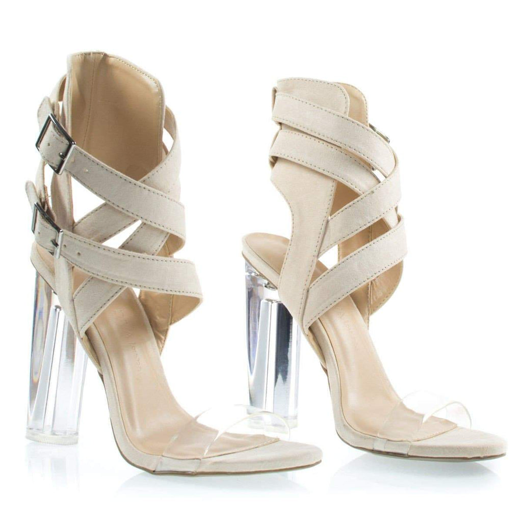 Mono19 By Wild Diva, Lucite Perspex Block High Heel w Transparent Strap On Gladiator Strap