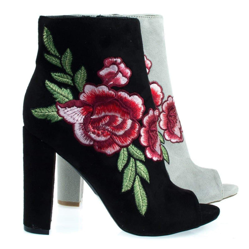 Morris03C Floral Embroidered Stitching On Peep Toe Chunky Block Heel Ankle Bootie