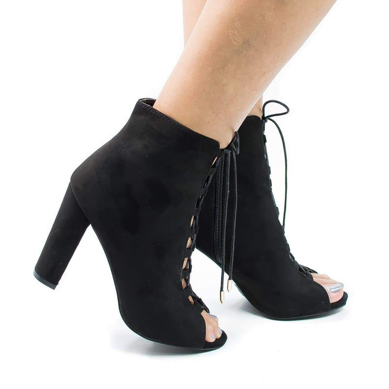 Morris12 By Wild Diva, Retro Corset Lace Up Peep Toe Blocked Heel Ankle Booties