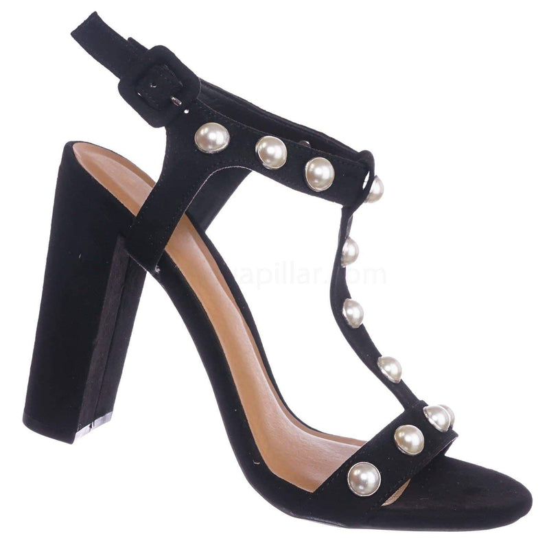 Black Pearl / Morris88 BlackV Pearl T-Strap Sandal - Women Chunky Block High Heel Dress Shoes