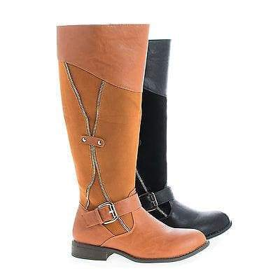Oksana106 Cognac Pu Knee High Round Toe Zipper Faux Wooden Heel Riding Boots