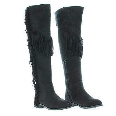 Oksana65 Black By Wild Diva, Round Toe Over Knee Fringe Riding Boots