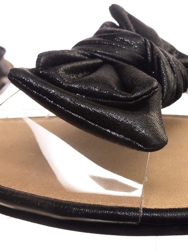 Black Pu / Sheila01 BlkFab Lucite Clear Slide-On Sandal - Women's Summer Metallic Bow Slippers