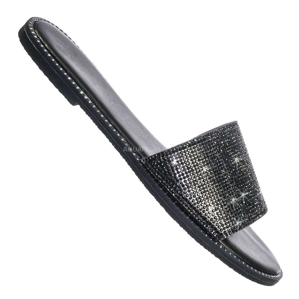 Black Pu / Snow11B Punk Rock Metal Stud Welt Slide - Rhinestone Slipper Flat Sandal