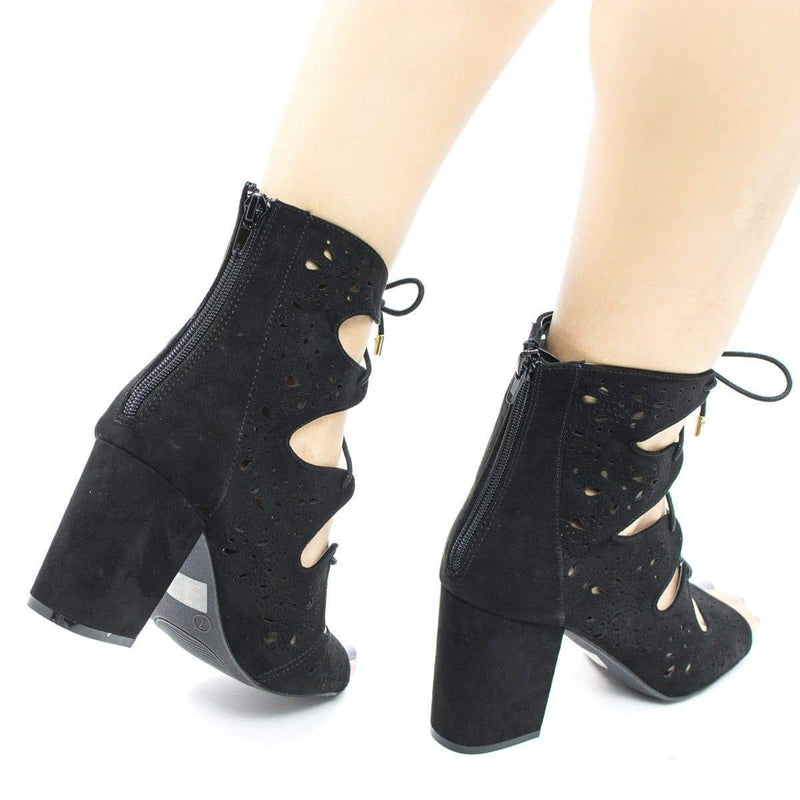 Susie25 By Wild Diva, Laser Perforated Corset Lace Up Ankle Block Heel Booties