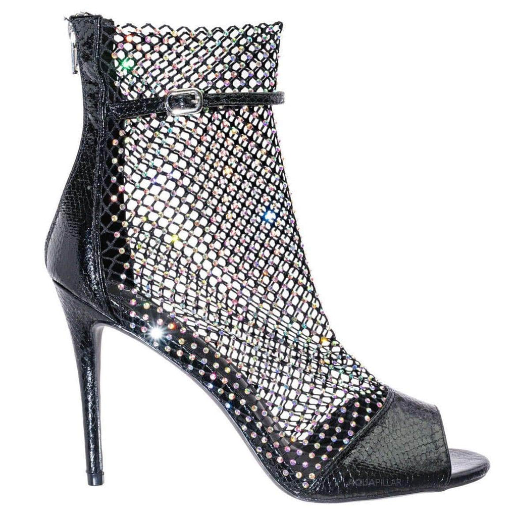 Black Snake / Tifa20 Rhinestone Fishnet Stiletto Pumps - Womens Crystal Jewel Net High Heels