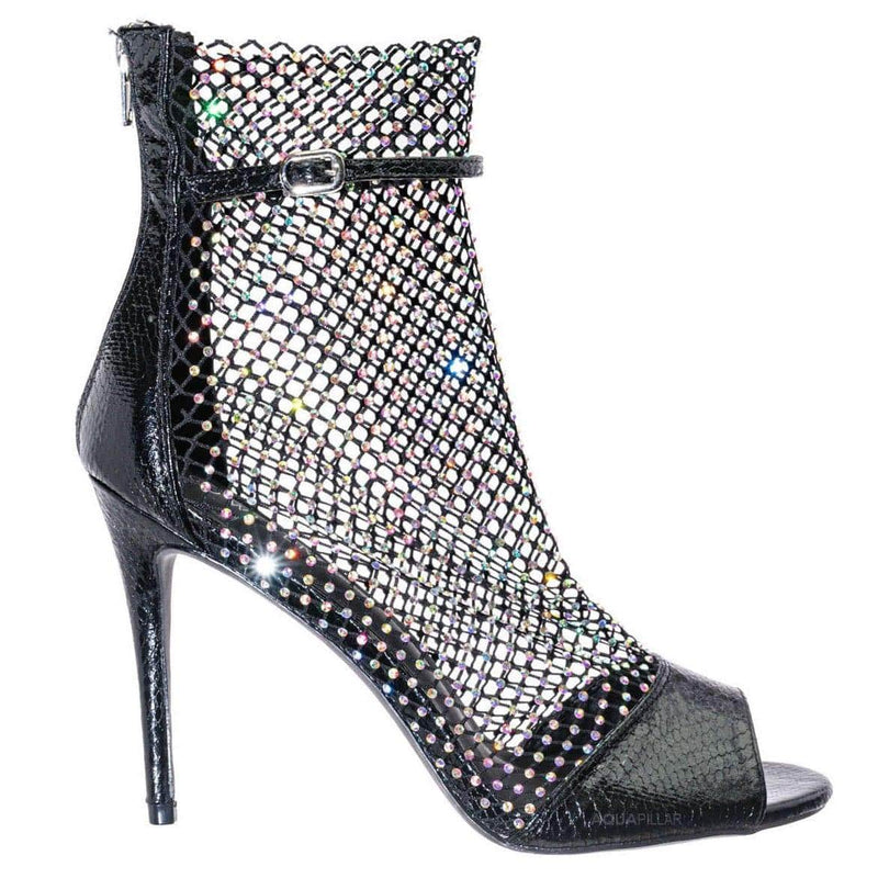 Tifa20 Rhinestone Fishnet Stiletto Pumps - Womens Crystal Jewel Net High Heels