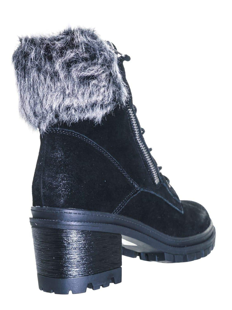Black Leather / Uno01 Winter Leather Suede Combat Boot - Women Faux Fur Lug Sole Heels