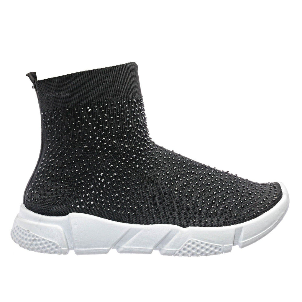 Black Knit / Zumi05 Rhinestone Stretch Knit Sneaker - Womens Elastic Slip On Athleisure Shoe