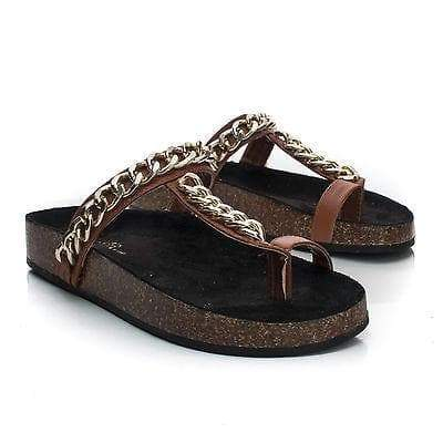 Candice06 By Wild Rose, Toe Strap Chained Slip On Footbed Flat Platform Sandals