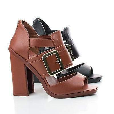 Iverson05 Brown Pu By Wild Rose, Peep Toe Strappy Cut Out Block Heel Sandals