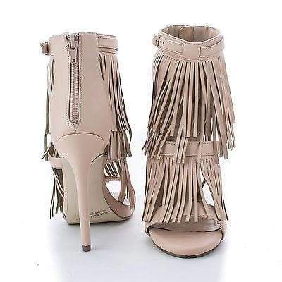 Jersey01 Nude Pu By Wild Rose, Buckle Ankle Pleaded Fringe Stiletto High Heel Sandals