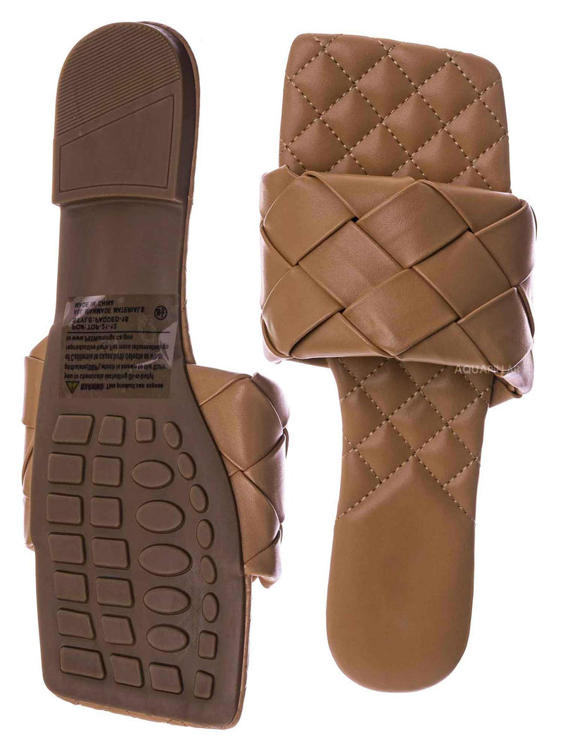 Tan Brown / Padded18 Wide Woven Slide Sandal - Womens Elongated Open Square Toe Slipper Mule