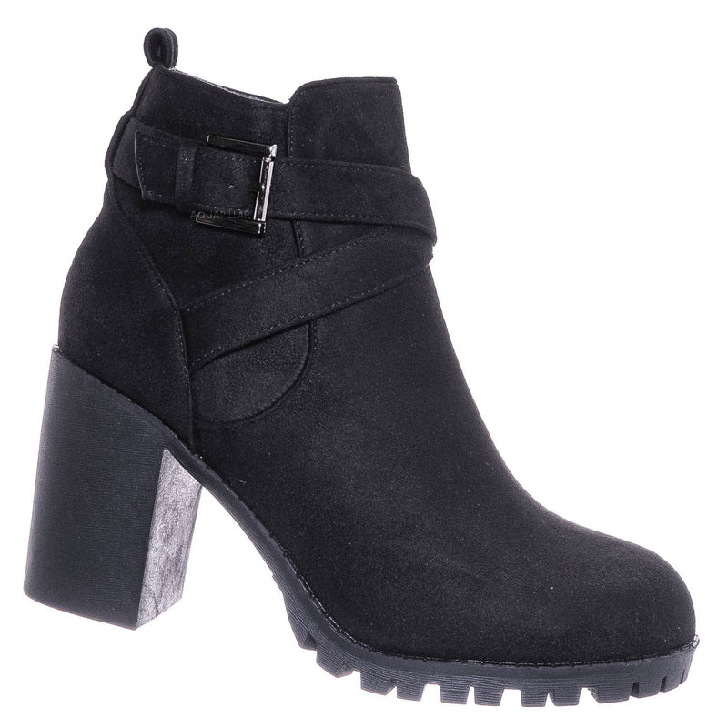 Michi29 Wraparound Belted Ankle Bootie - Chunky High Heel Lug Sole Moto Boots