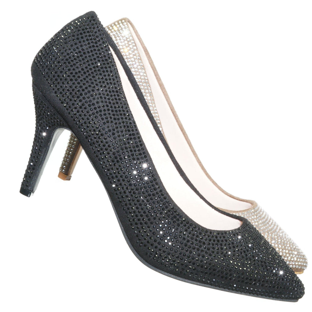 Sanzi8 Crystal Rhinestone Stiletto Pumps - Womens Pointed Toe High Heels
