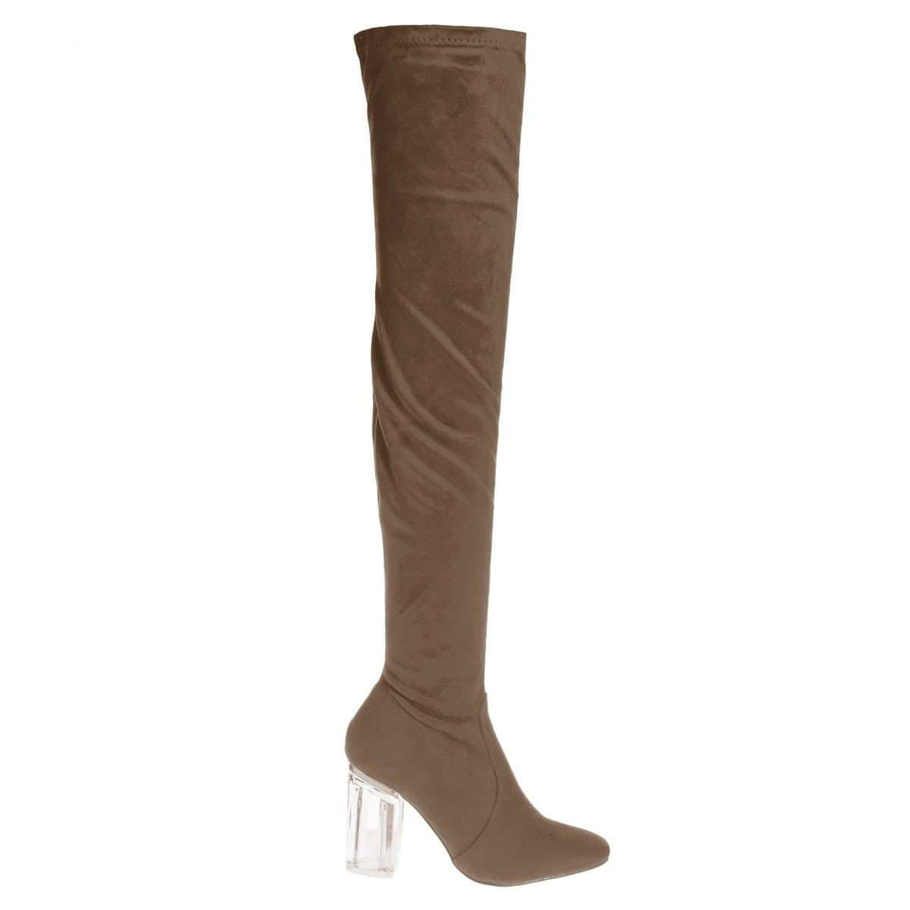 Cameron2 By X2B, Over Knee Thigh High Dress Boots w Perspex Lucite Block Heel