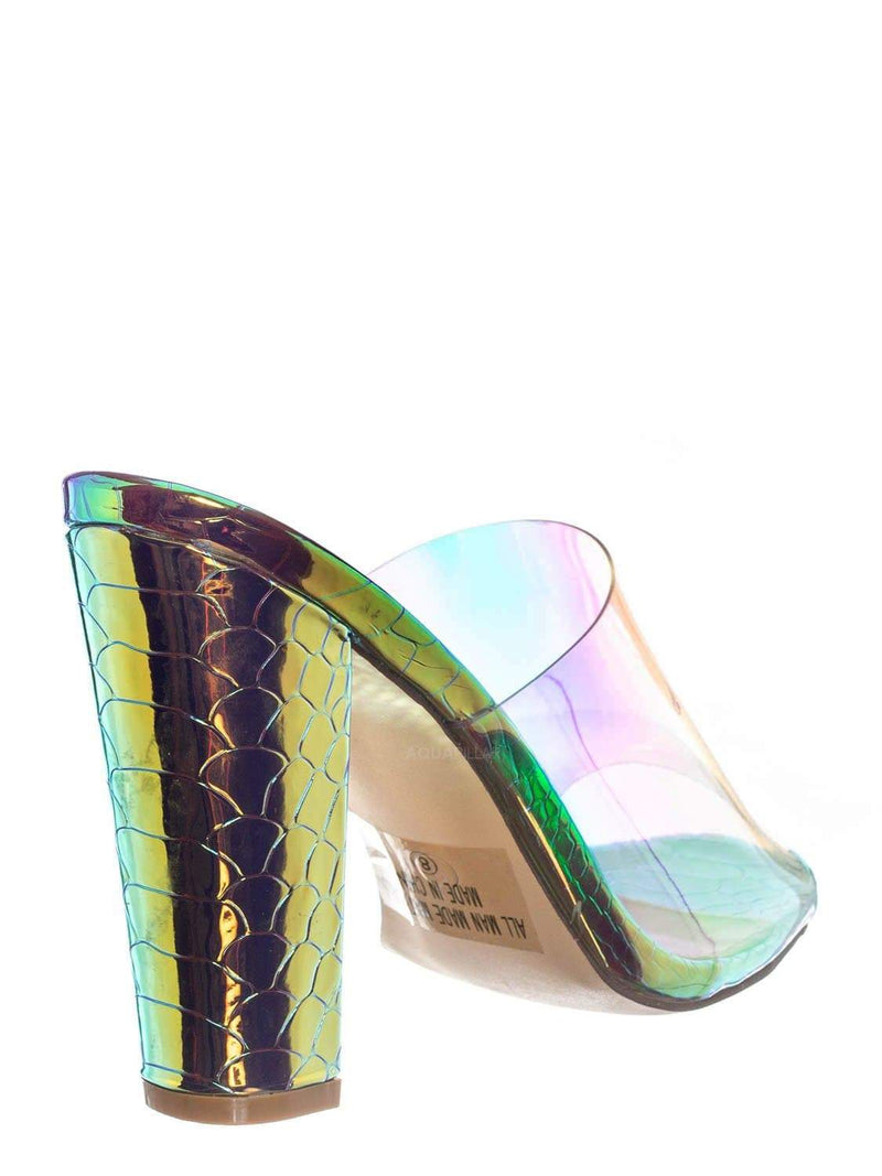 Gold / Kimberly4 Iridescent Clear Vinyl Mule - Chunky High Heel Peep Toe Lucite Sandal