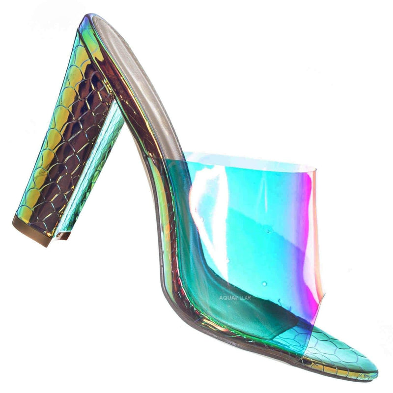 Kimberly4 Iridescent Clear Vinyl Mule - Chunky High Heel Peep Toe Lucite Sandal