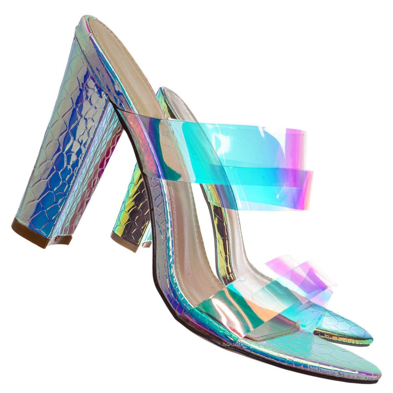 Silver / Kimberly5 Iridescent Clear Vinyl Sandal - Chunky High Heel Strappy Lucite Slides