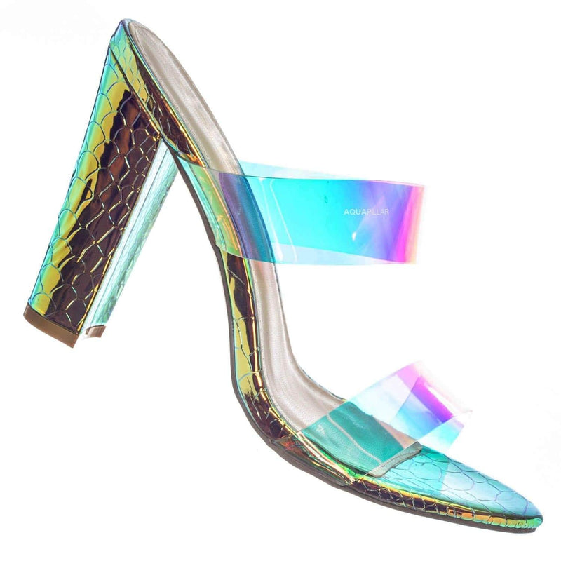 Kimberly5 Iridescent Clear Vinyl Sandal - Chunky High Heel Strappy Lucite Slides