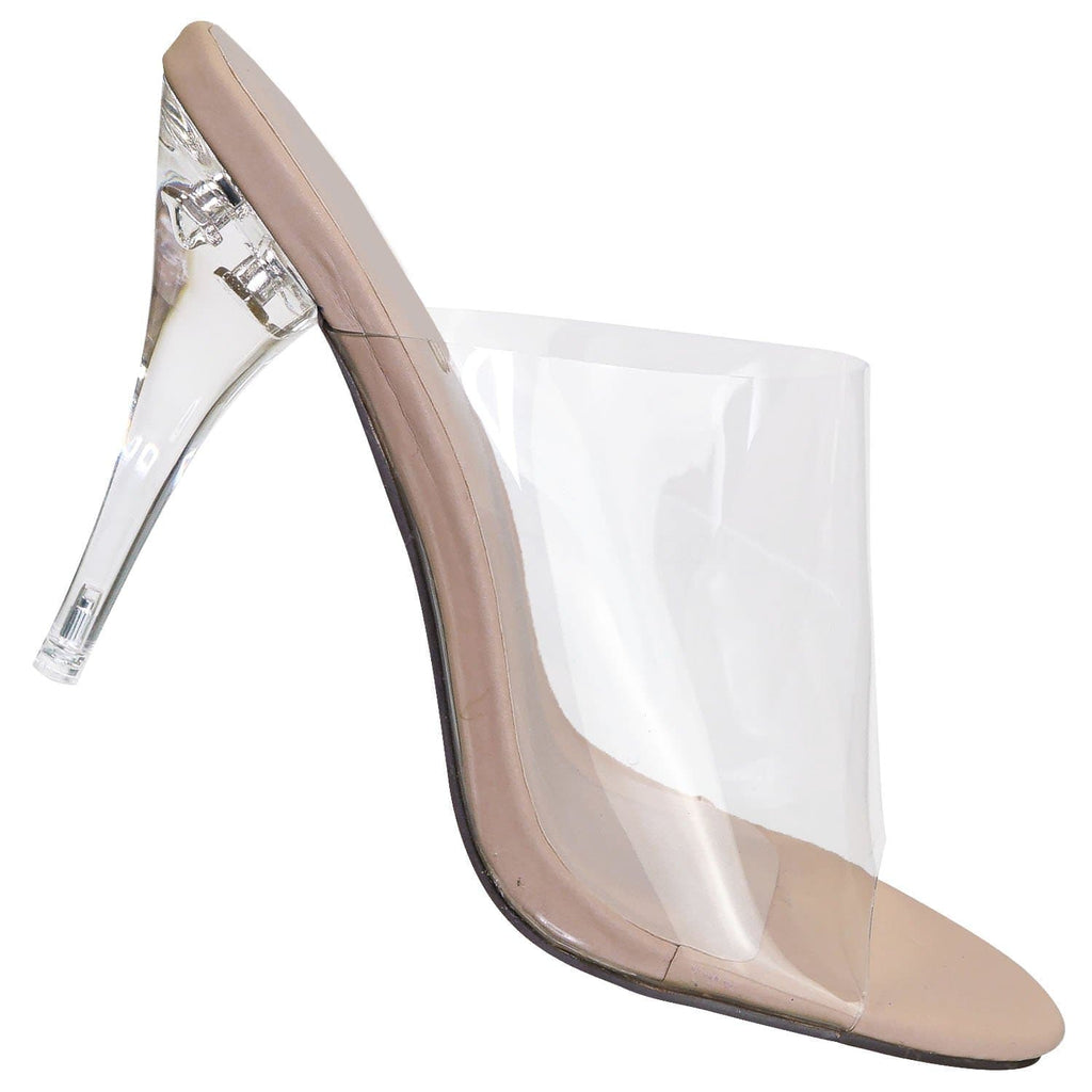 May1 ClrNudNb Clear High Heel Mules - PVC Acrylic See Through Slide All Season Sandal