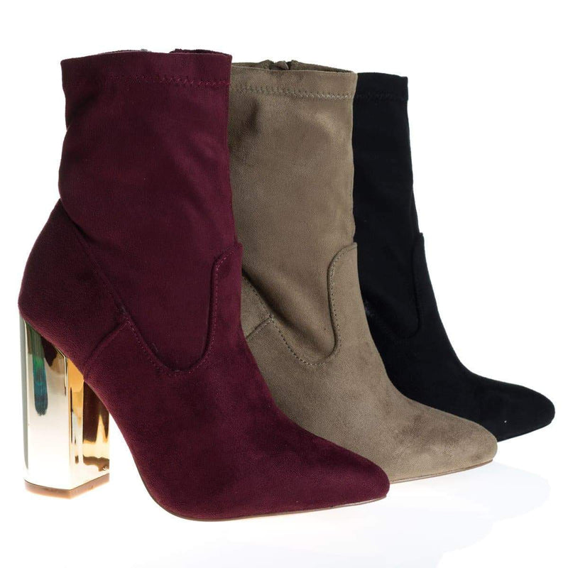 Monet2 Taupe By X2B, Gold Metal Plated High Block Heel, Suede Pull On Ankle Booties