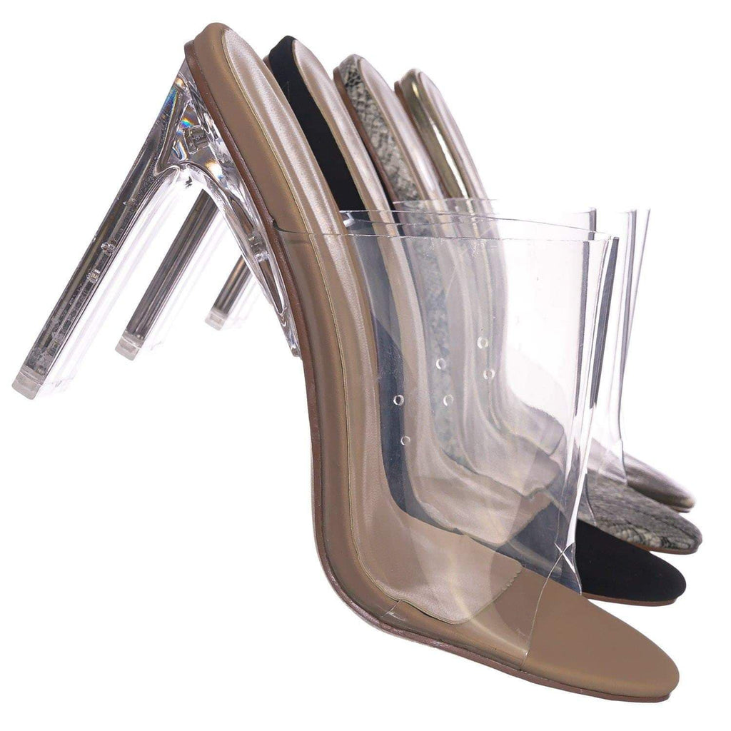 Nude Beige / Thalia4 ClrNudNb Barely These Clear Chunky Flat Block Heel - Lucite Mule Slide Sandal