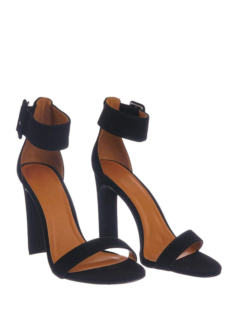 Black Nubuck / Thalia6 BlkNbPu Barely There Thin Wide Block High Heel Sandal -Ankle Strap Open Toe Shoe